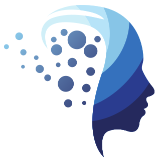 Logo of Atenea Psychology Clinic in Mallorca. It shows a profile of a woman's head, in different layers of blue.